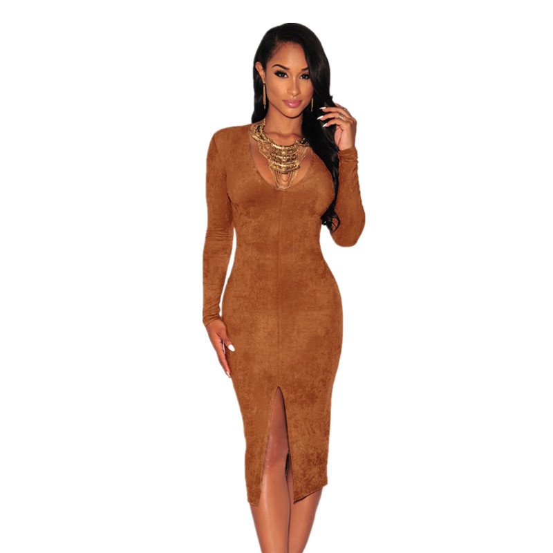 Newly Autumn and Winter Sexy V-Neck Women Bodycon Dresses Mocha/Navy Faux Suede Long Sleeves Slit Dress LC60673 Black Friday(China (Mainland))