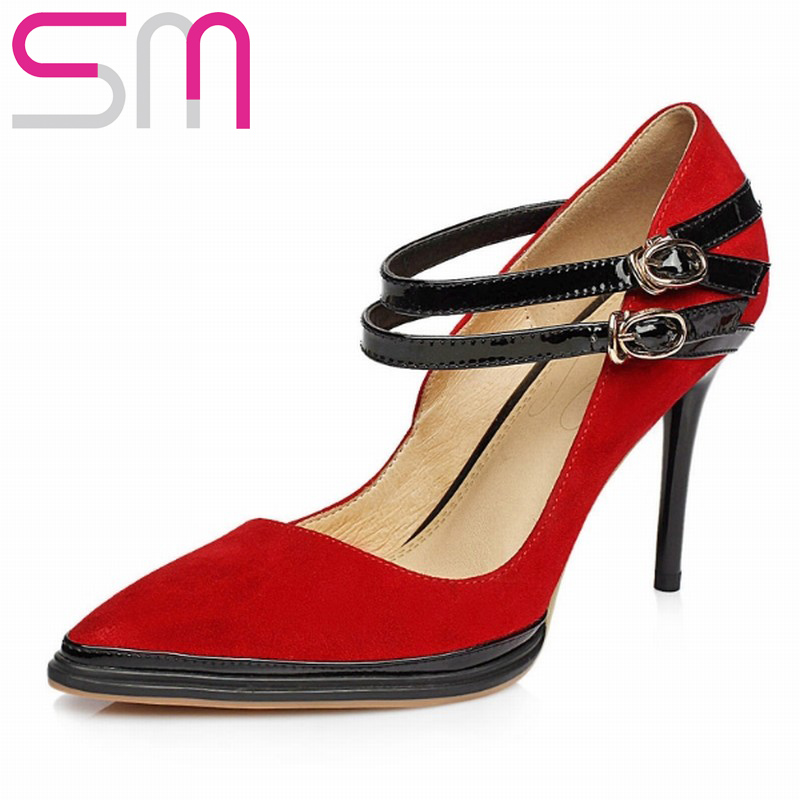Genuine Leather Women Pumps Mary Janes Buckle Strap Pointed toe Shoes Patch Color Summer Thin High Heel Woman