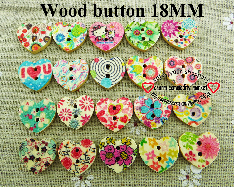 200pcs HEART FLOWER MIXED shirt painting wooden button for sewing clothes acceesory MCB-886(China (Mainland))