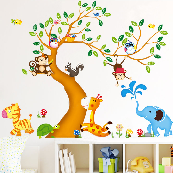 oversize jungle animals tree monkey owl removable wall incredible hulk oversize wall vinyl sticker ebay