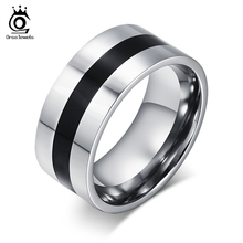 ORSA Never Fading 9mm Width Titanium Steel Finger Ring Black Design Men Women Party Ring USA SIZE 6-13 OTR59(China (Mainland))