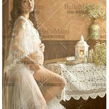 HOT White Lace Wedding Shawl Maternity Photography Props Studio Clothing Pregnant Photo Shoot Clothes 2016 Royal Style Dress