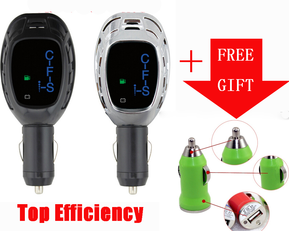 New Arrival Top Efficiency Universal Intelligent LCD Fuel Shark 12V Cigarette Lighter Socket Car Fuel Saver + A Free Car Charger(China (Mainland))
