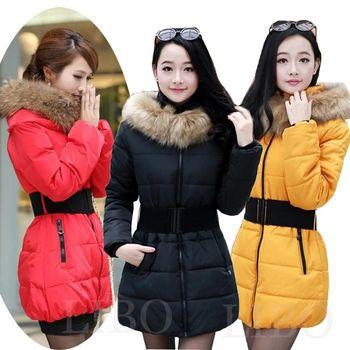 Пуховик капюшон, женщины зима тёплый искусственный мех воротник стёганый пальто 4 со