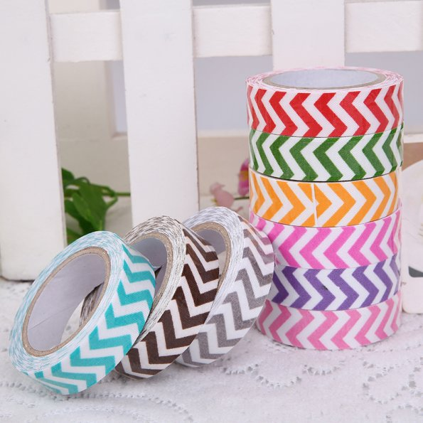 1 PCS New Japanese 15mm Wide Craft Masking Chevron Striped Fabric Adhesive Tape Multicolor 9 Colors(China (Mainland))