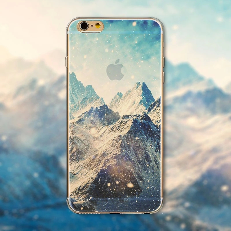 "Fashion Ultra thin soft silicon Mountain landscape scenery case for iphone 6 4.7"" Luxury Transparent cell phone back housing(China (Mainland))"