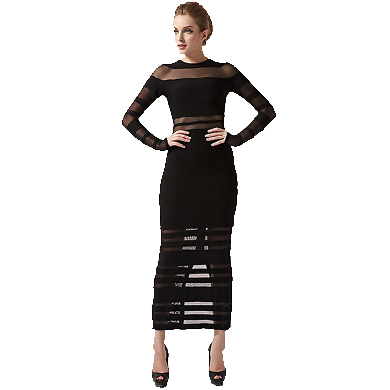 Hot Celebrity Long Mesh Vestidos 2016 New Gown Women Sexy See Through Black Rayon Slit Back Evening Long Sleeve Bandage DressesОдежда и ак�е��уары<br><br><br>Aliexpress
