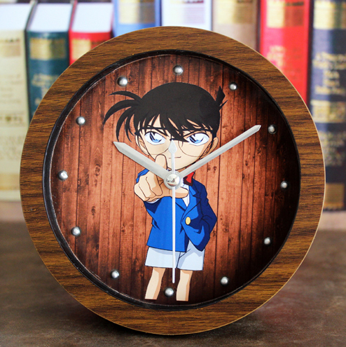 Detective Conan original cartoon creative wooden desk clock alarm clocks when sitting mute European retro(China (Mainland))
