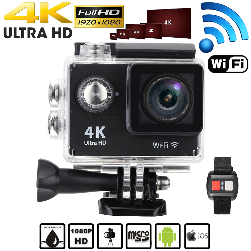 """Full HD 1080P 4K 15fps Action Camera Wifi 2.0"""" LCD 12MP 170 degree Wide Angle Lens Waterproof 30M Mini Camera with Remote Watch(China (Mainland))"""
