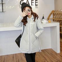 Новый 2016 женщины пуховик зимняя мода меховой подкладке капюшоном Большой размер гусиный пух куртка парка-бесплатная средней длины верхней одежды для женщин