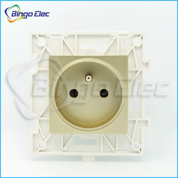 Golden PC Europe French style wall Electrical power socket part ,CE marks,110-250V,16A, free shipping(China (Mainland))