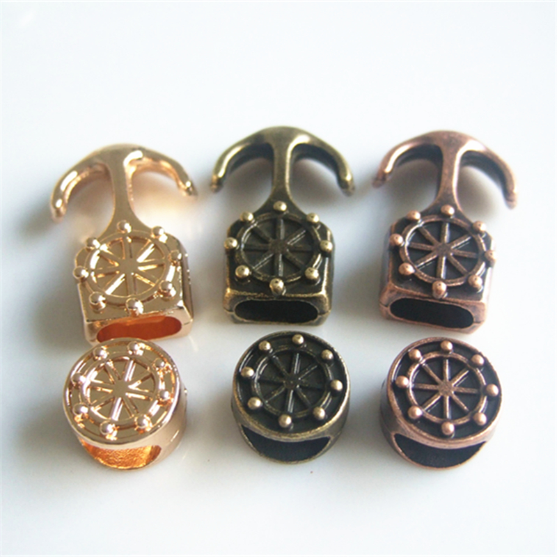 5 Sets 3 Colors Antique Gold Bronze Copper Anchor Rudder Clasp Hook Fit 5mm Round Leather(China (Mainland))