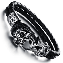 2014 brand new Men vintage jewelry steampunk skull leather bracelet rock hand woven bangle fashion black items wholesale PH846(China (Mainland))