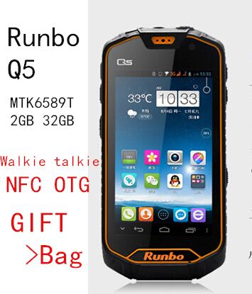 BIG Gift!Original Runbo Q5 / Q5S NFC OTG IP67 waterproof phone Walkie talkie MTK6589T 2GB 32GB Android 4.2 IPS phone x6 j5 A8 A9(China (Mainland))