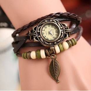 2015 New Fashion Leather Retro Vintage Leaf Weave Wrap Quartz Wrist Watch Bracelet Watch For Women Lady Variety Of Styles(China (Mainland))