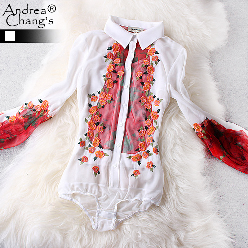2015 spring summer designer womens shirts blouses red flower floral embroidery embroidered white black fashion cute brand shirt(China (Mainland))