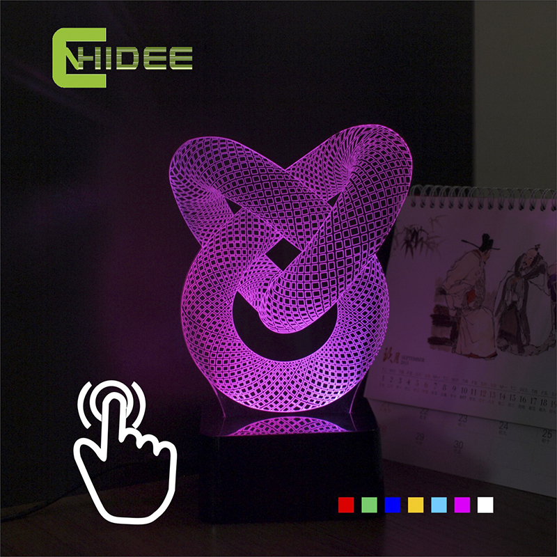 Baby Sleeping Lampara USB Novelty Chinese Knot Seven Colors Home Lighting 3D LED Decorative Desk Lamp as Christmas Night Lights(China (Mainland))