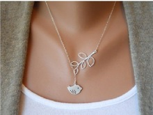 2015 Women Fashion Jewelry Korean Alloy Bird Leaves Pendant Clavicle Chain Necklace for Women