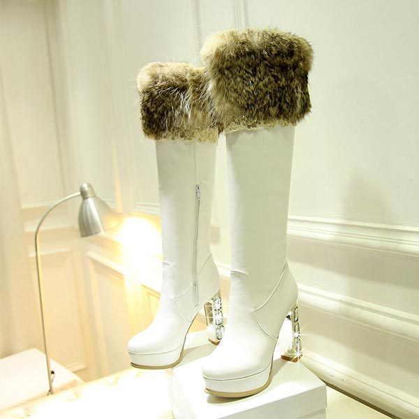 Over Knee High Fur Snow Boots Sexy Women High Heels Shoes Platform Fashion sexy Ladies Dress Casual tall Boots Rhinestone Pumps<br><br>Aliexpress