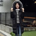 New winter jacket women fox fur collar hooded jacket slim medium long plus size down coat