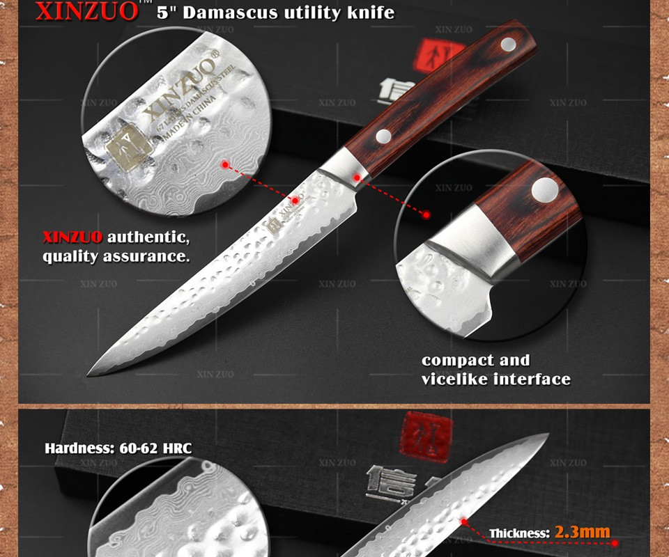 "Buy XINZUO XINZUO NEW 5"" Multi-purpose knife Damascus Steel kitchen knives utility cutter kitchen tool utility knife FREE SHIPPING cheap"