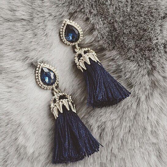 2015 мода ювелирных изделий длинные Pendientes серьги синий камень кисточкой металлической цепью серьги для женщин Brincos