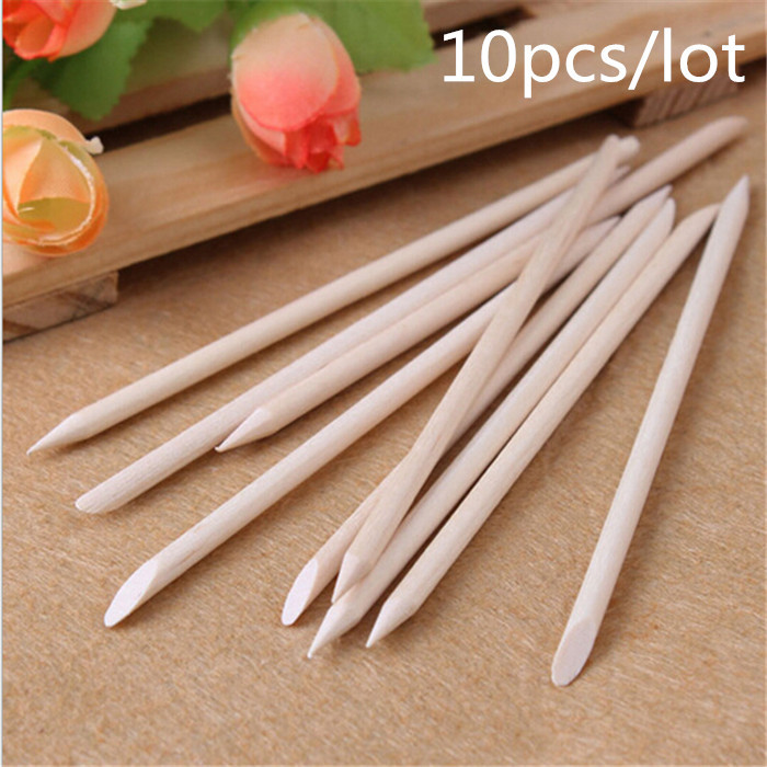 10pcs Nail Art Orange Wood Stick Cuticle Pusher Remover for nail art care Manicures nail tools(China (Mainland))