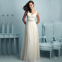 W503 Free Shipping A Line Tulle V Neck Beaded Sexy Backless Lace Beach Bohemian Wedding Party Dress Cheap 2016 Vestidos De Noiva(China (Mainland))