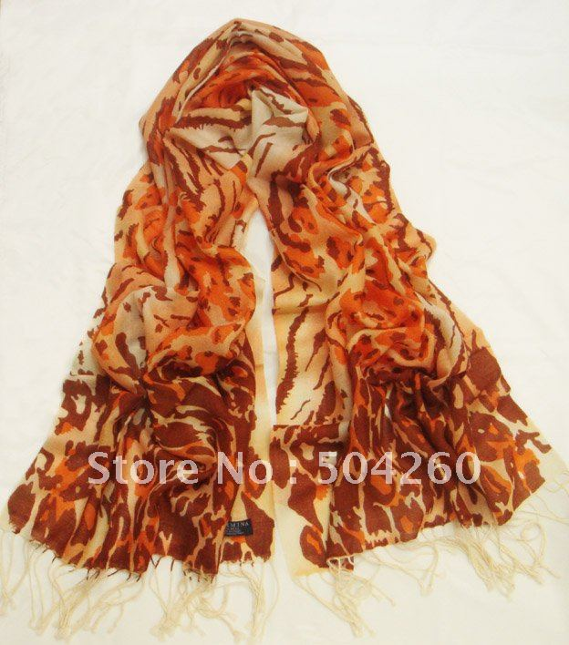 WS157 100% wool winter long scarf with cartoon pattern in size 195cm*65cm with fringe for free shipping