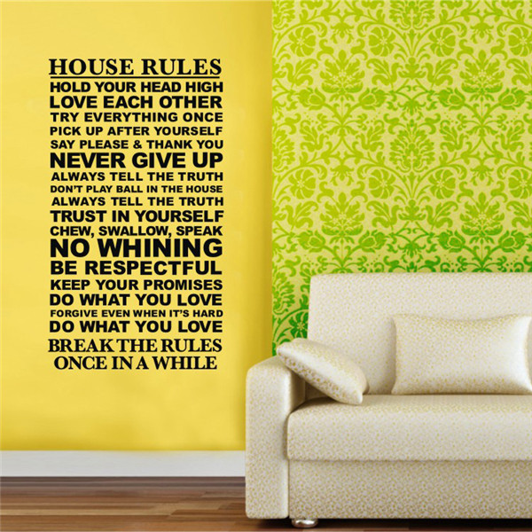 Wall decals quotes and saying house rules wall stickers for Living room 6 letters