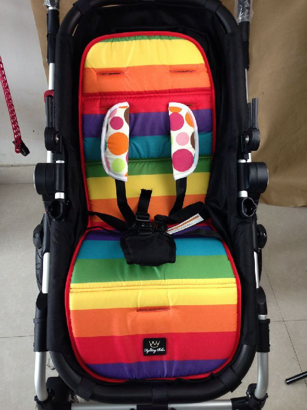 Rainbow Stroller Mat Waterproof Baby Stroller Pad Child Carriage Car Umbrella Cart Seat Cushion BB Car Thermal Thicken Pad(China (Mainland))