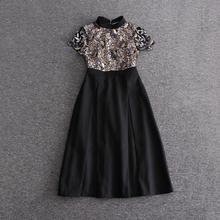 Buy 2017 Runway Designer New Spring Summer Dress Women's High Short Sleeve Patchwork Embroidery Retro Dress Little Black Dre for $66.59 in AliExpress store