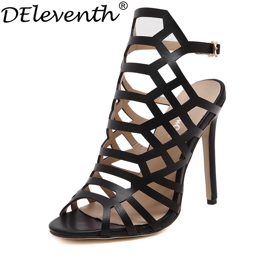 2016 Super Star Summer New Gladiator Buckle Strap Cut-outs Shoes Peep Toe High Heels Evening Party Women Sandals Apricot Black(China (Mainland))