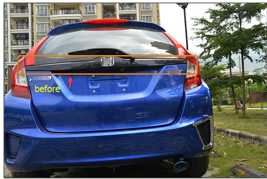 new accessories For Honda FIT jazz 2014 2015 ABS Rear Trunk Lid Cover Trim 1pcs<br><br>Aliexpress