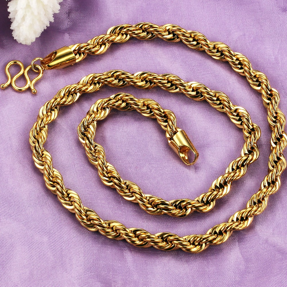 Luxury 18k Real Gold Plated Chain Necklace Charm Attractive Men Jewelry Vintage Korean Style 610