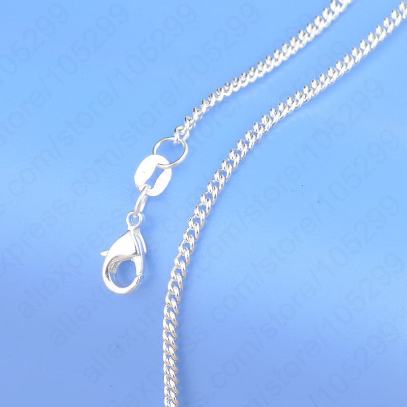 """Hot Sale 1PC free shipping Pure 925 Sterling Silver Chain Necklace With Big Discount, 16""""-30""""Popular Flat Curb Chains Jewelry(China (Mainland))"""