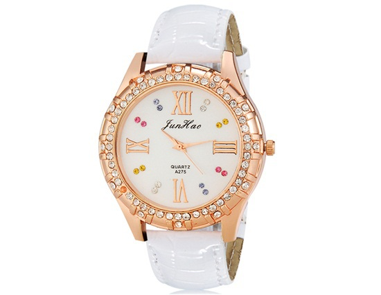 New 2014 JunHao A275 Women's Crystal Decorated Analog Watch with Faux Leather Strap Trendy Watch Brands Originals Free Shipping(China (Mainland))