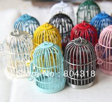 12pcs of metal bird cage multi color mixture 28x28x35mm-you can choose color-free shippping(China (Mainland))