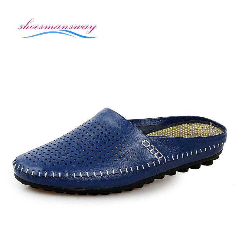 Breathable Flat Sandals Fashion Slippers For Men Shoes Summer Driving Footwear Black Dark Blue Yellow White Size 38 to 44(China (Mainland))