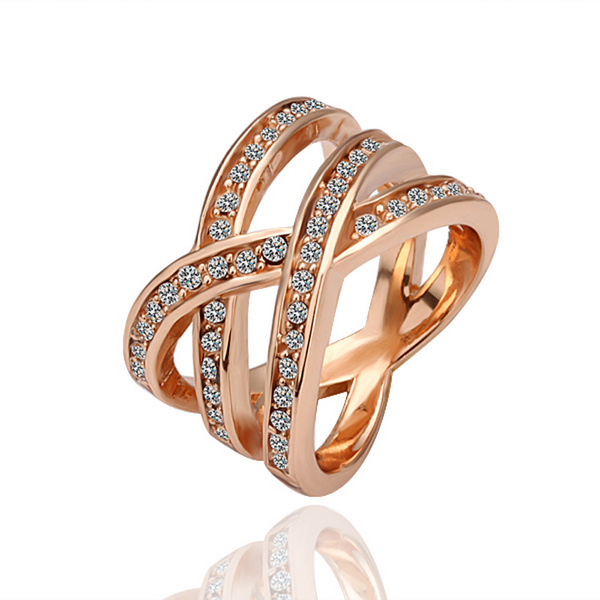 NICETER1Pc Free Shipping LR001 Hotsale White/Rose Gold Plated Swiss Cubic Zircon Rings For Women Fashion Accessories 2014 New