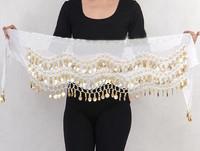 новый танец живота юбка шарф хип обернуть ремень шифона выбрал серебряные золотые монеты