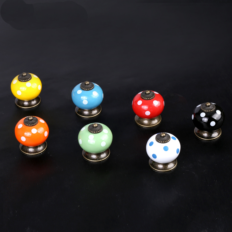 34mm Ceramic Spot Dargon Ball Door Handle Pull Knobs Cabinet Door Porcelain knobs Cupboard Drawer Locker Vintage Retro Gold<br><br>Aliexpress