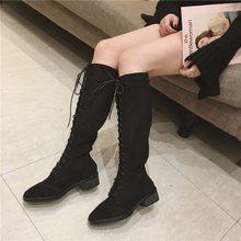 COOTELILI Mode Kniehohe Stiefel Für Frauen Gummi Schuhe Frauen Lace-Up Brogue Stiefel Frauen Herbst Winter Damen Schuhe 35-39(China)