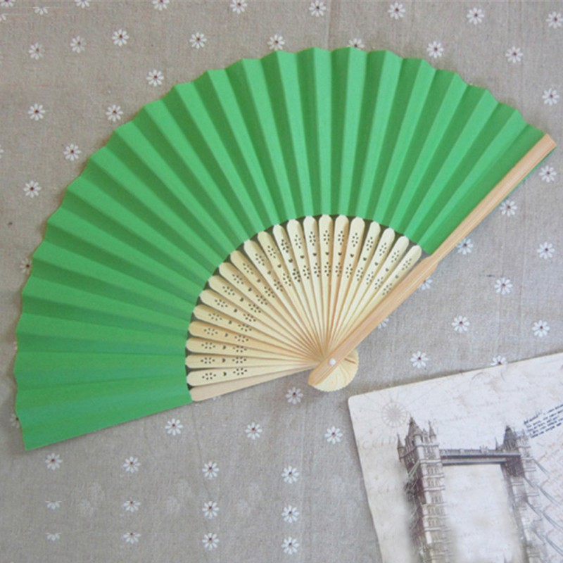 Summer Style Ladies Bamboo Paper Fan Hollow Out Hand Folding Fans Decoration Favor Outdoor Wedding Party(China (Mainland))