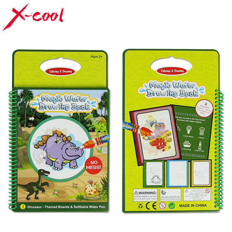 XC1393 Magic Water Drawing Book with 1 Magic Pen/Intimate Water Painting Dinosaur-Themed Board Educational Toy for Kid Children(China (Mainland))