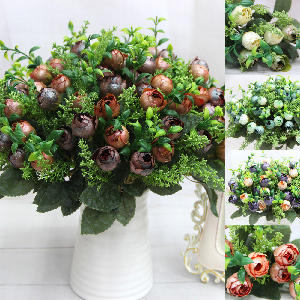 Beauftiful Charming 12 Head Rose Tea Bud Pearl Artificial Silk Flowers Home Office Party Decoration(China (Mainland))