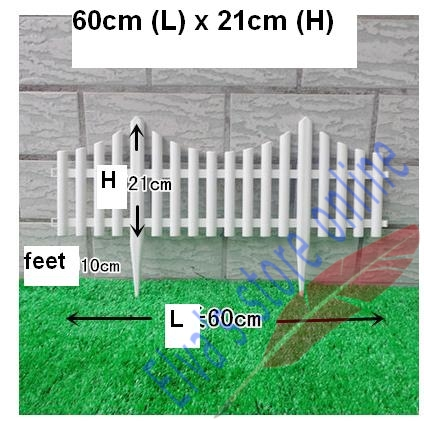 60cm X 21cm Plastic Fences White Railing Fences European Country Style  Insert Ground For Garden Courtyard Decor Easily Assembled