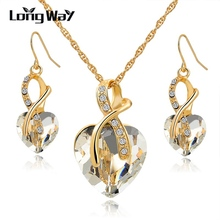 Austrian Crystal Necklace Earrings Set Luxury Gold Plated Heart Crystal Jewelry Set For Women Engagement Jewelry Sets SET140044(China (Mainland))