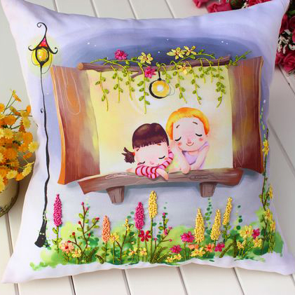 embroidered ribbon embroidery cushion pillow pillow when the romantic color of 1 cross stitch 3D living room(China (Mainland))