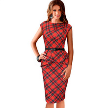 Womens Vintage Elegant Belted Tartan Red Plaid Pencil Dress Ruched Tunic Work Party Sleeveless Bodycon Sheath Dresses